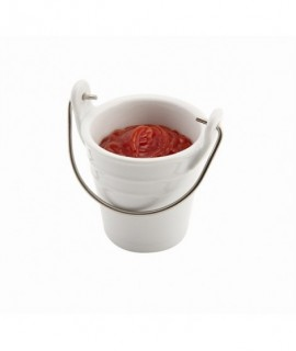 Porcelain Bucket W/ Stainless Steel Handle 6.5cm 10cl