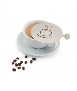 Genware Stainless Steel  Coffee Stencil Cup Design