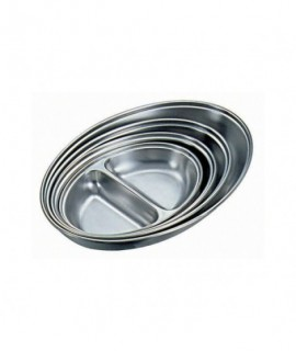 """Stainless Steel 2 DIVISION Oval Vegetable Dish 8"""""""