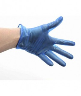Blue Lightly Powdered Vinyl Gloves Med (100)