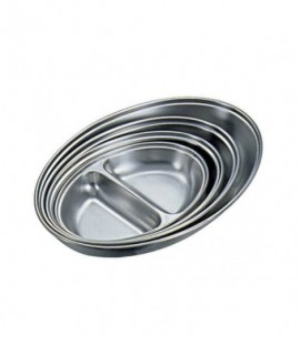 """Stainless Steel 2 DIVISION  Oval Veg Dish 14""""   Width 21.2cm"""