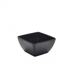 Black Melamine Curved Square Bowl 19cm