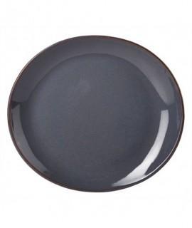 Terra Stoneware Rustic Blue Oval Plate 25x22cm