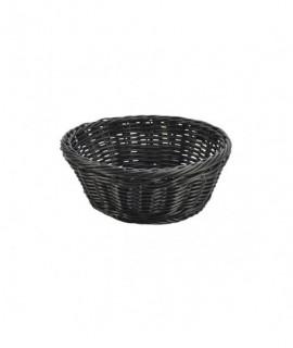 Black Round Polywicker Basket 21x 8cm