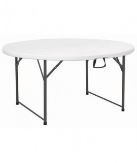 Centre Folding Round Table 5' White HDPE