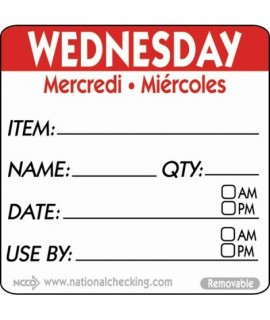 50mm Wednesday Removable Day Label (500)