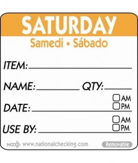 50mm Saturday Removable Day Label (500)
