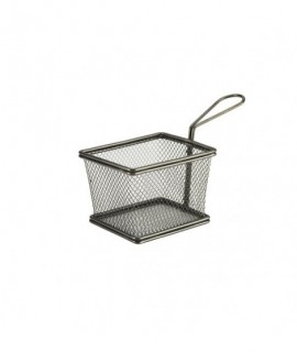 Black Serving Fry Basket Rectangular 12.5 x 10 x 8.5cm