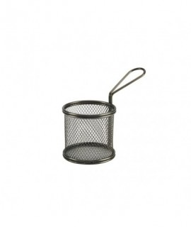 Black Serving Fry Basket  Round 9.3 x 9cm
