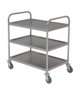 Fully Welded Stainless Steel Trolley - 3 Shelves