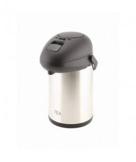Tea Inscribed Stainless Steel Vacuum Pump Pot 2.5L