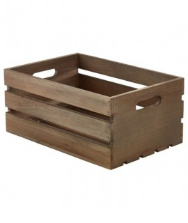 Wooden Crate Dark Rustic Finish 34X23X15cm