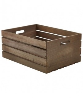 Wooden Crate Dark Rustic Finish 41X30X18cm