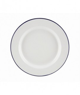 Enamel Wide Rim Plate White & Blue 26cm