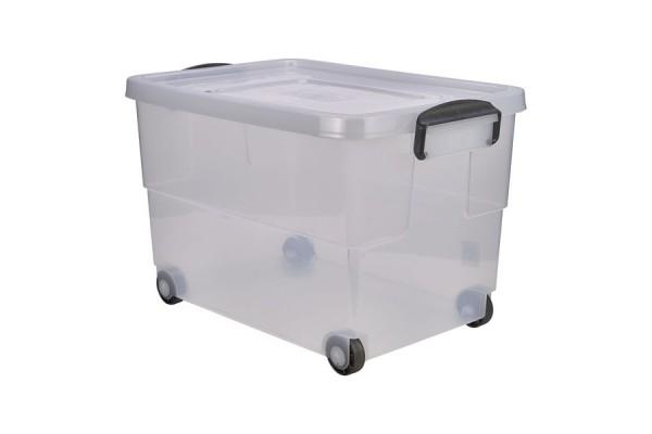 Storage Box 60L W/ Clip Handles On Wheels