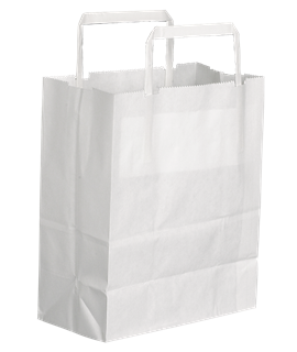 "10"" WHITE PAPER CARRIER BAG W/HANDLES (PK-250)"