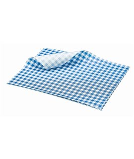 GREASEPROOF SHEET 250 X 200MM GINGHAM BLUE (PACK-1000)