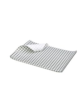 GREASEPROOF SHEET 250 X 200MM GINGHAM BLACK (PACK-1000)
