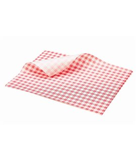 GREASEPROOF SHEET 250 X 200MM GINGHAM RED (PACK-1000)