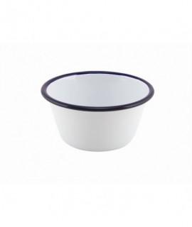 Enamel Round Deep Pie Dish White & Blue 12cm
