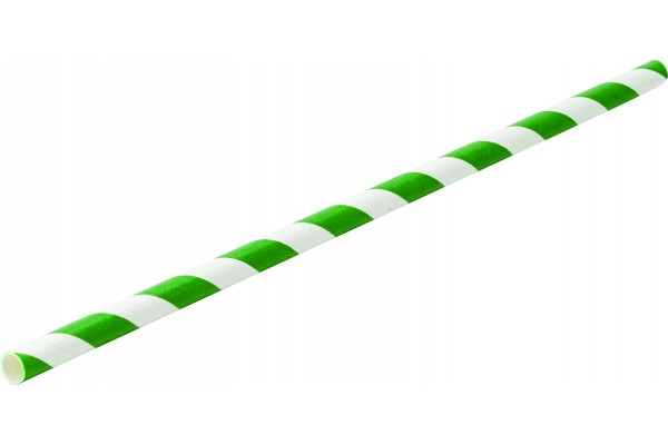Paper Green Stripe Straw