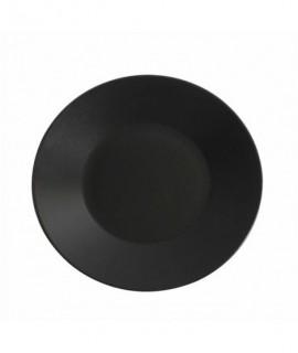 Luna Wide Rim Plate 25cm Black Stoneware