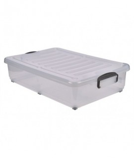 Storage Box 40L W/ Clip Handles On Wheels